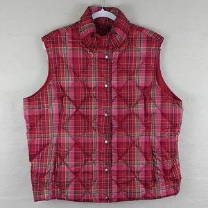 Lands' End Red Multicolored Quilt Down Filled Vest